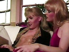 gorgeous blond and a brunette tranny swap