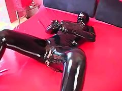 Black Doll Catsuit Masturbation