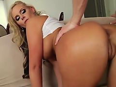 Blonde glamour babe rammed in tight butt