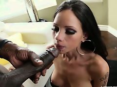 Ebony dick pounds hottie tight hole