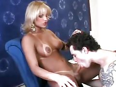 Cute blonde lady-boy is toyed in her butt while blowing
