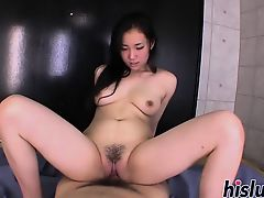 Delicious Momoi rides on a fat dick