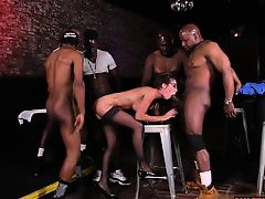 Brunette milf gangbang with swallow