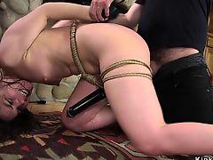 Brunette student rough fucked in bondage
