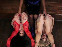 Ebony mistress anal fucks big ass babes