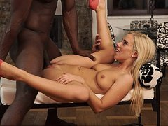 Interracial fucking in the kitchen