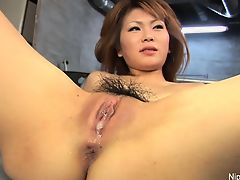 Asian girl's tight pussy is poked, played with and creamed